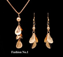 Free shipping new Fashion women jewelry sets wholesale gold plated cheap leaf necklaces drop earrings for women set jewelry(China (Mainland))