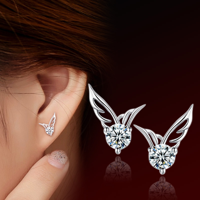 Fashion 925 sterling silver earrings women crystal angle wing stud earrings pendientes brincos de festa boucl ear cuff gifts(China (Mainland))