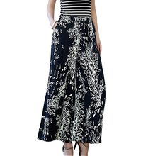 Plus Size High Quality Pure Cotton Print 2016 New Summer Women Wide Leg Pants Loose High Waist Culottes Casual Dance Pants CE195