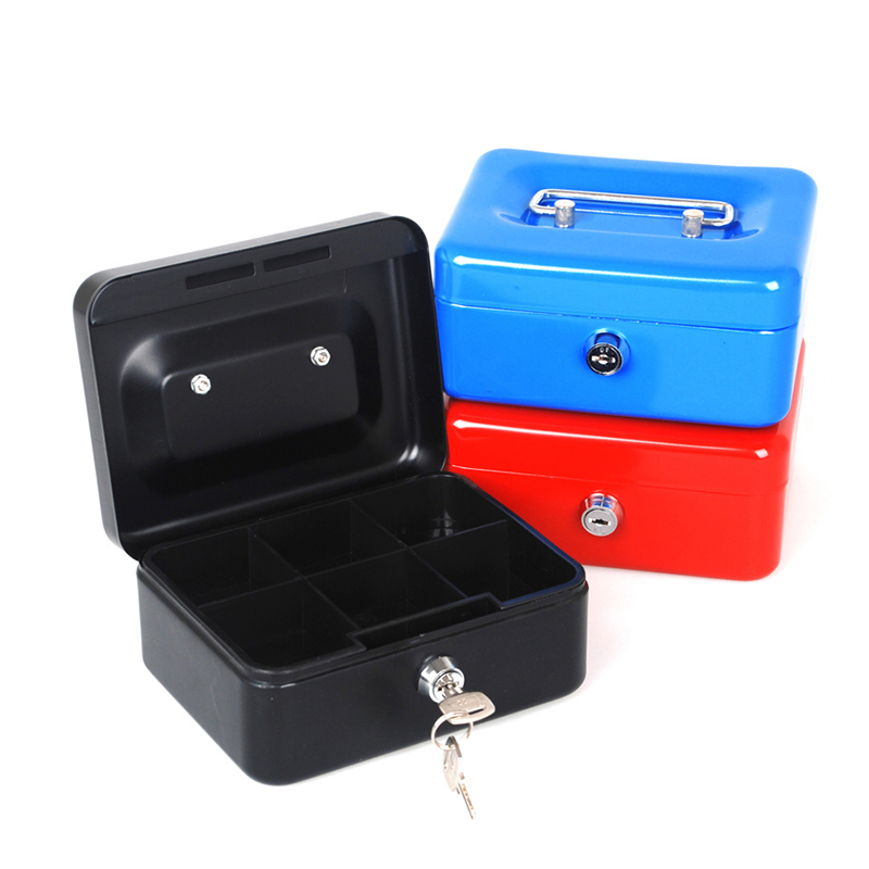 Free Shipping Mini Portable Steel Petty Lock Cash Safe Box For Home School Office Market Lockable Coin Security box(China (Mainland))
