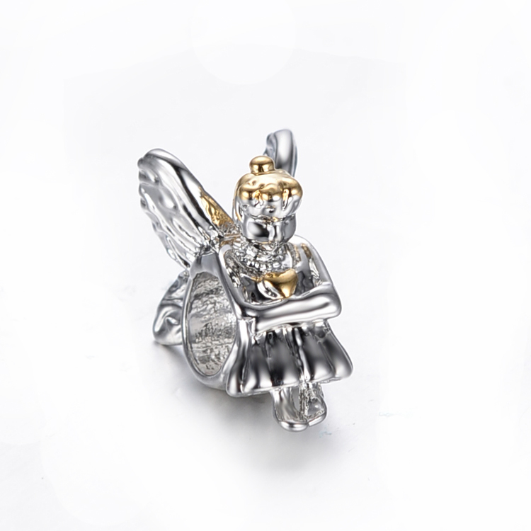 free shipping silver and gold plated love angel big hole Bead Fits European Pandora Charm Bracelets & Necklaces PB004(China (Mainland))