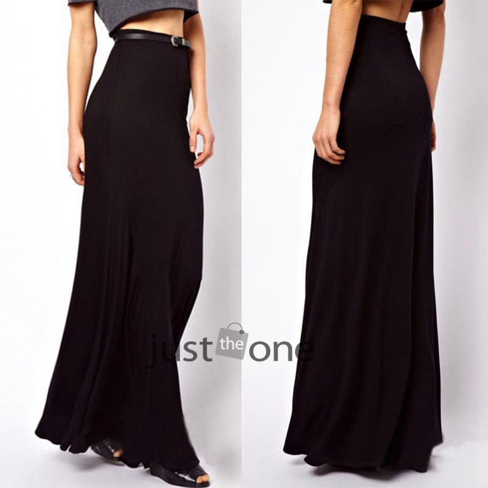 Women Summer Casual Sexy Stretch Cotton Bust skirt Long Maxi BOHO BLK Chic(China (Mainland))