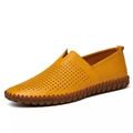 Genuine leather casual shoes men comfortable loafers brand men shoes soft breathable flats driving shoes plus
