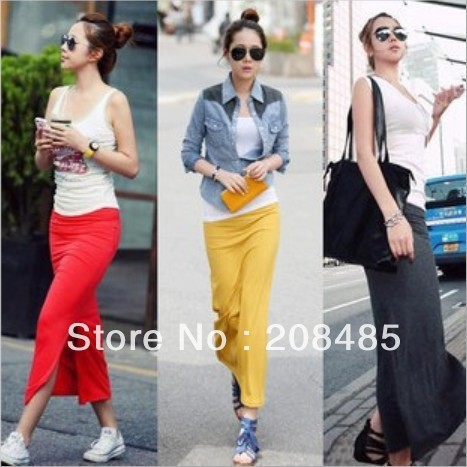 Better quality,2013 new fashion 4-color Unilateral side Split Package hip Straight Slim long skirt free shipping