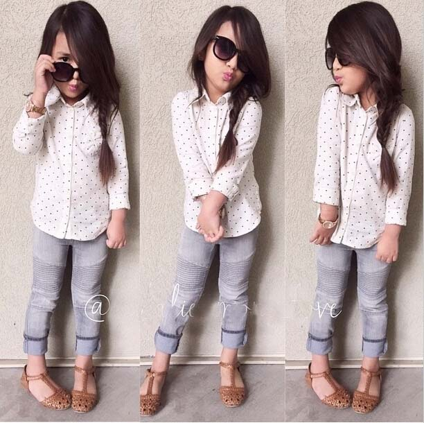 Fashion 2016 Girl Blouse Polka Dot Print Long Sleeve Outerwear Children Clothing Casual White Kids Shirt