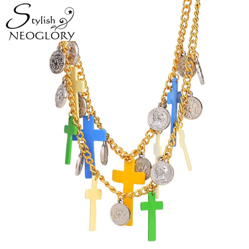 Neoglory Stylish Brazil Colorful Cross Enamel Pendant Necklace 14K Gold Plated Fashion Street Style Jewelry New Wholesale CS(China (Mainland))
