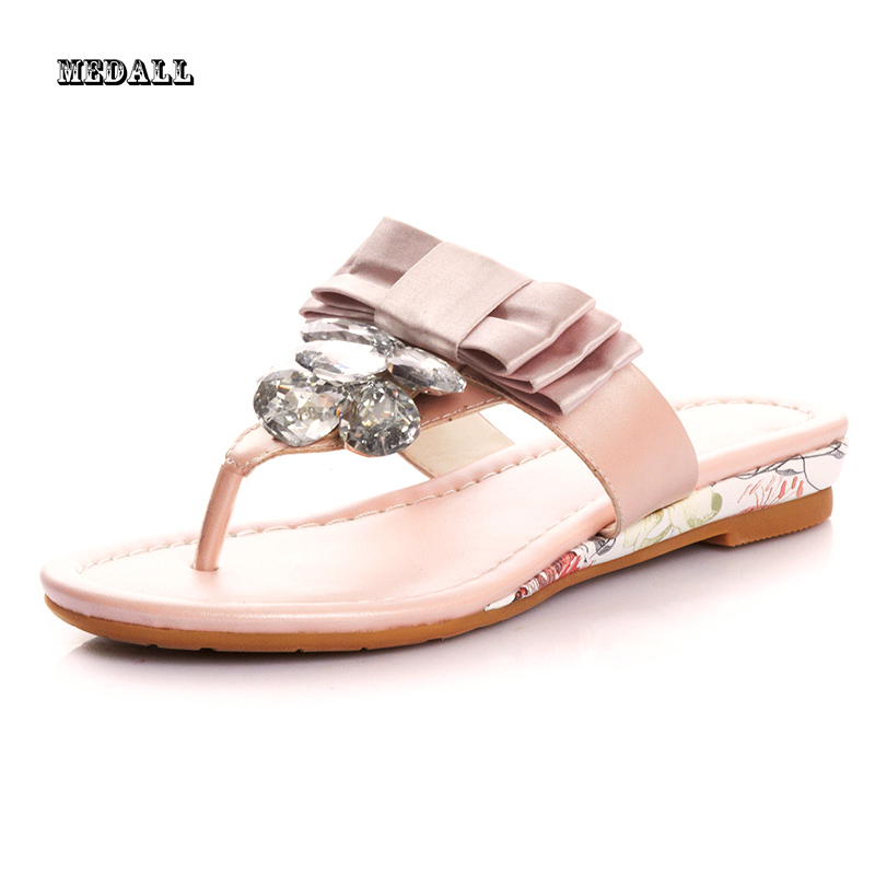Free shipping 2016 New In the Summer Female Sandals Female Diamond Bowknot Flip-flops slippers Fashion Beach Women's Shoes