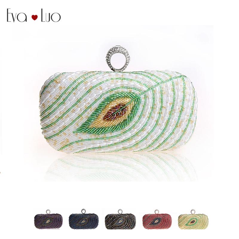 EWD065 yellow,black,purple,navy blue,red,white heavy beading lovely leaf woman clutches evening bag handbag bridal wedding bag(China (Mainland))