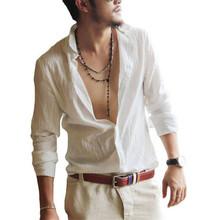 High Quality NEW Spring Summer Hot Thin Lightweight Hawaiian Shirt Men Cool Solid Cotton Linen Long Sleeve Casual Men Shirts