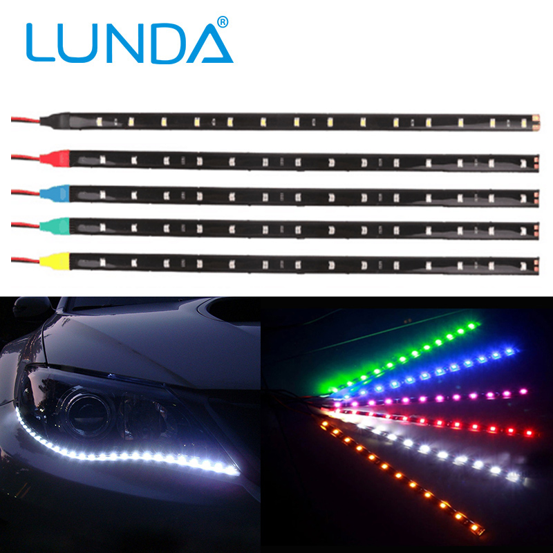 2Pcs 12V 30cm High Power LED Daytime Running lights DRL 100% Waterproof 5050 SMD Car Auto Decorative Flexible LED Strip Fog lamp(China (Mainland))