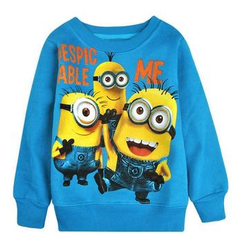 Бесплатная доставка 2015 новый мальчиков девушка мультфильм дизайн круглые миньон воротник ватки дети носят футболки детская одежда