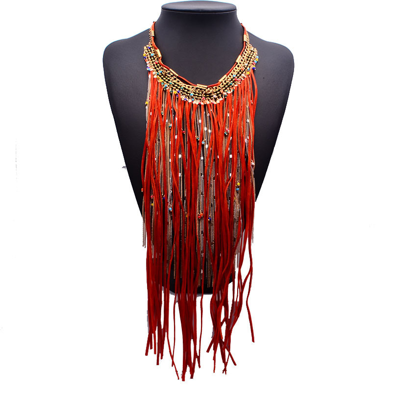 Brand Za Necklace 2015 Long Tassel Vintage Chunky Statement Necklaces Pendants Party Luxury Accessories Collier Femme(China (Mainland))