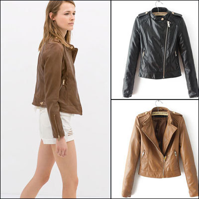 Brown Leather Jacket Women Cheap