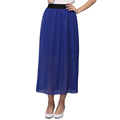 New 2016 Summer Solid Color Skirt Women Pleated Elastic Waist Ankle Length Chiffon Skirt Lady European