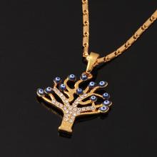Evil Eye Pendants Unique Tree Shape New Trendy 18K Real Gold Plated Rhinestone Women Fashion Jewelry