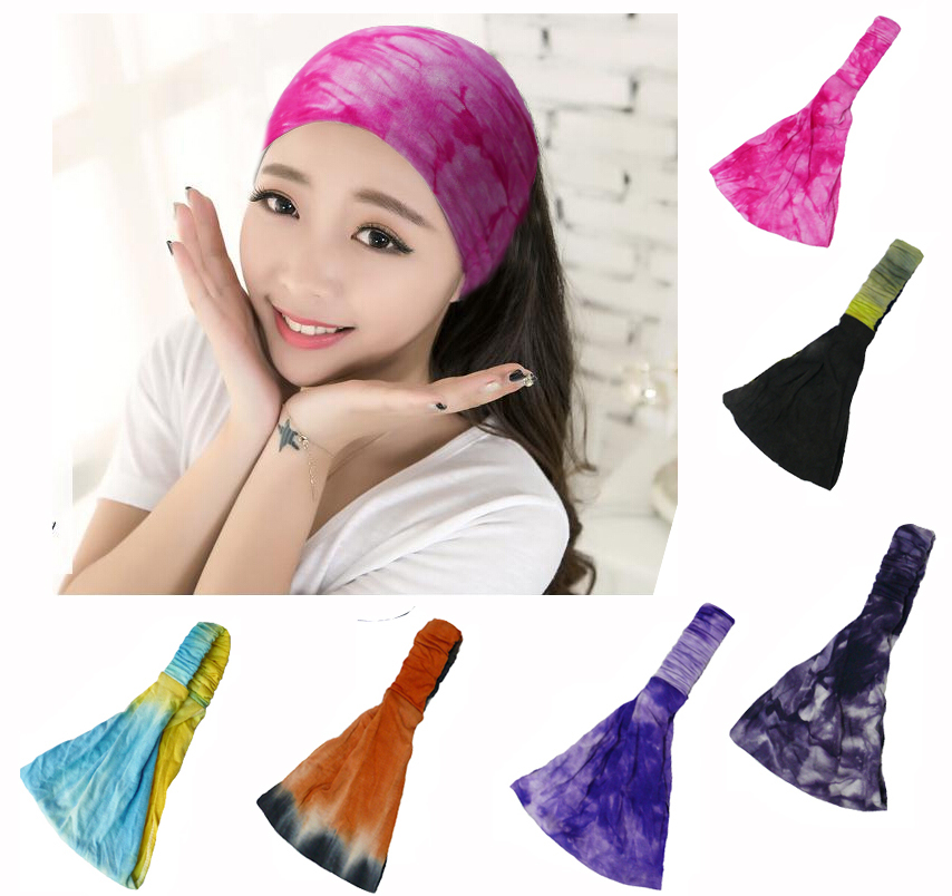 Summer Style BOHO Tie Dye Cotton Headbands Bandana Turban Head Wrap Elastic For Women Girl Hair Bands Hair Accessories Bandage(China (Mainland))