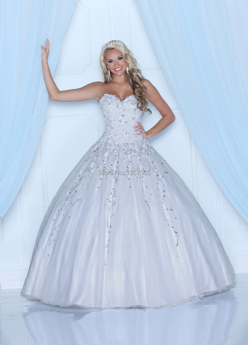 New Fashion 2014 White Quinceanera Dresses Ball Gown