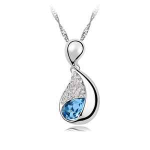 2016 Newest High-end European and American jewelry wholesale Korean fashion item geometric crystal pendant necklace - cardamom J(China (Mainland))