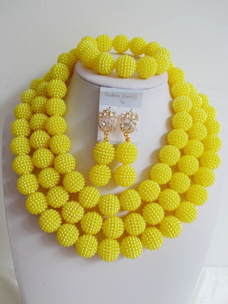 2015 Fashion yellow african beads necklace set nigerian wedding african beads jewelry set Free shipping  P-4471<br><br>Aliexpress