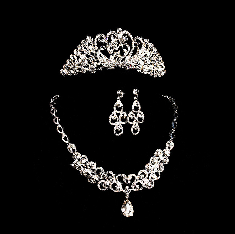 Crown Tiara Pearls Silver Plated Crystal Choker Necklace earrings crown Jewelry Set Wedding Evening Party - COCOSTYLE store