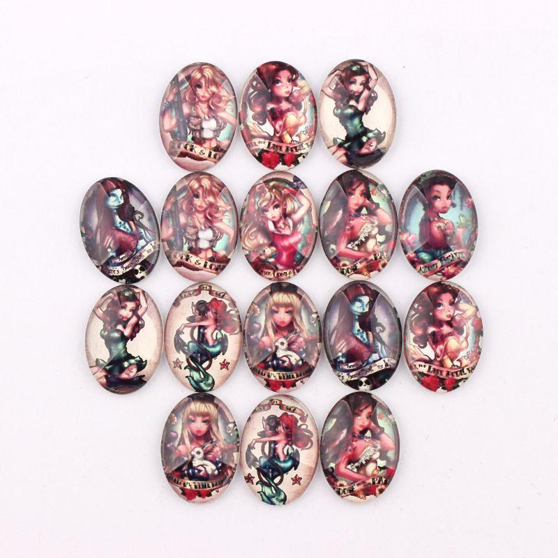 2017 Handmade 4 Size Glass Mix Gothic Girls Oval Flatback Cameo Cabochon Domed DIY Jewelry Charm Photo Pendant Setting(China (Mainland))