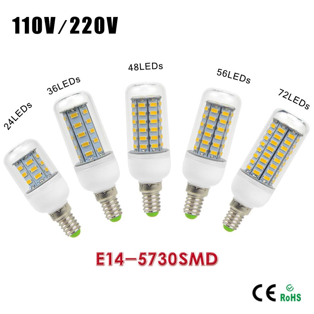 Energy Saving LED E14 Bulb lamp Replace CFL 7W 12W 15W 20W 30W Lighting 5730 SMD 24/36/48/56/72 LEDs AC 220V Spotlight lamps(China (Mainland))