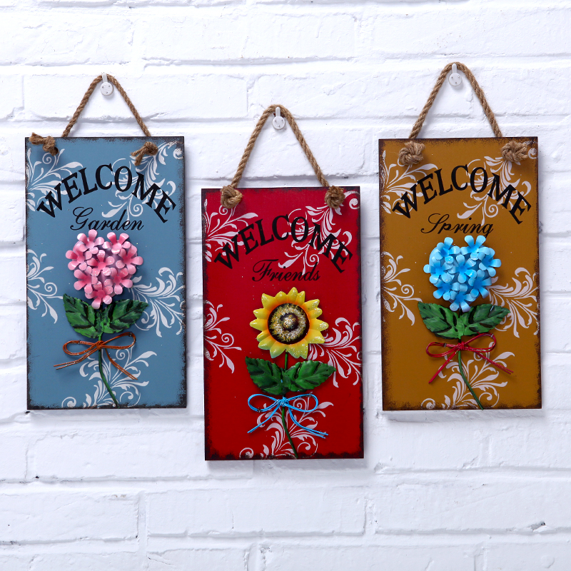 Wedding gift american metal flower decoration rectangle wooden plaque(China (Mainland))