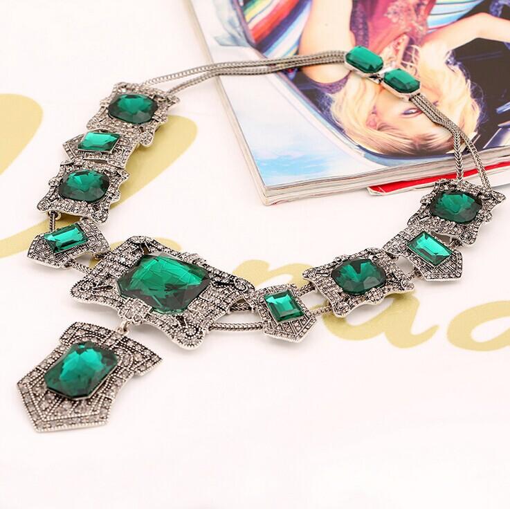Aliexpress.com Comprar Marca de lujo de la joyería turca moda verde esmeralda cristal Vintage cuentas africanas collar bisutería navidad mejor hombre