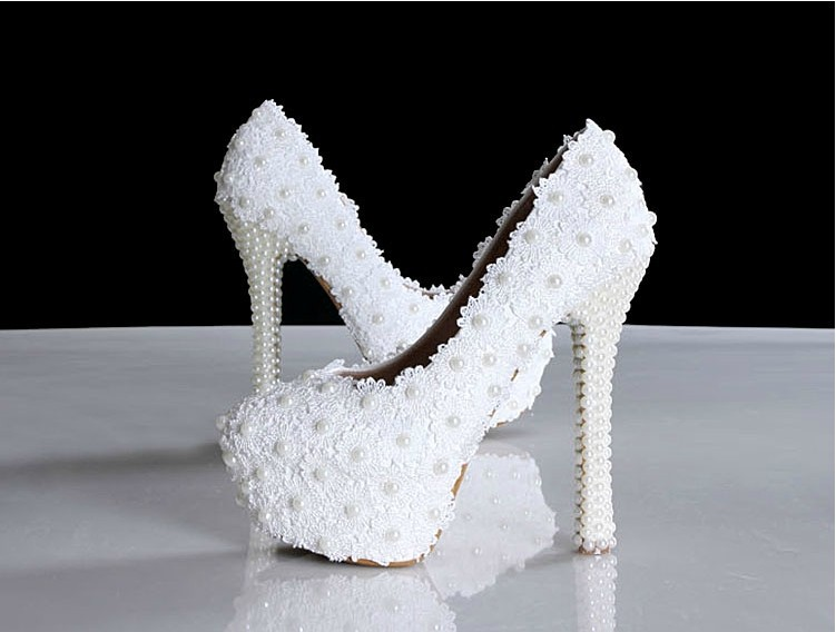 Фотография White Lace  Round Toe Wedding Dress Shoes High-heeled Ladies Bridal Shoes with Pearls 14cm heel Party Prom Shoes Free Shipping