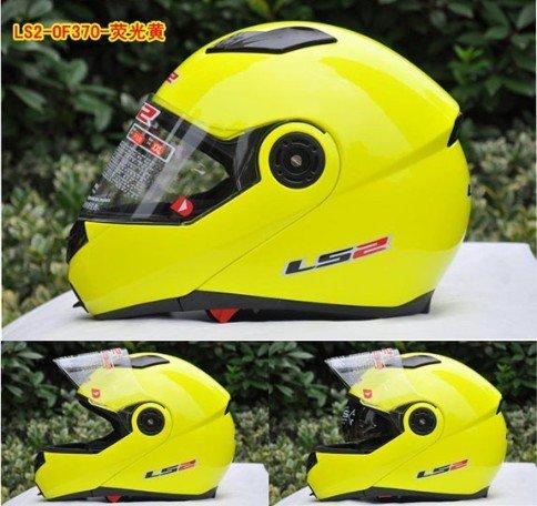 Hot sales! Free shipping flip up helmet LS2 motorbike helmet with double visor lemon color full face helmets for motorcycles(China (Mainland))