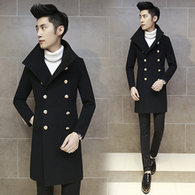 2015 Winter Long Overcoat For Men Turn Down Collar Slim Pea Coats Men Double Breasted Woolen Trench Coat Outerwear M-XXL D188(China (Mainland))