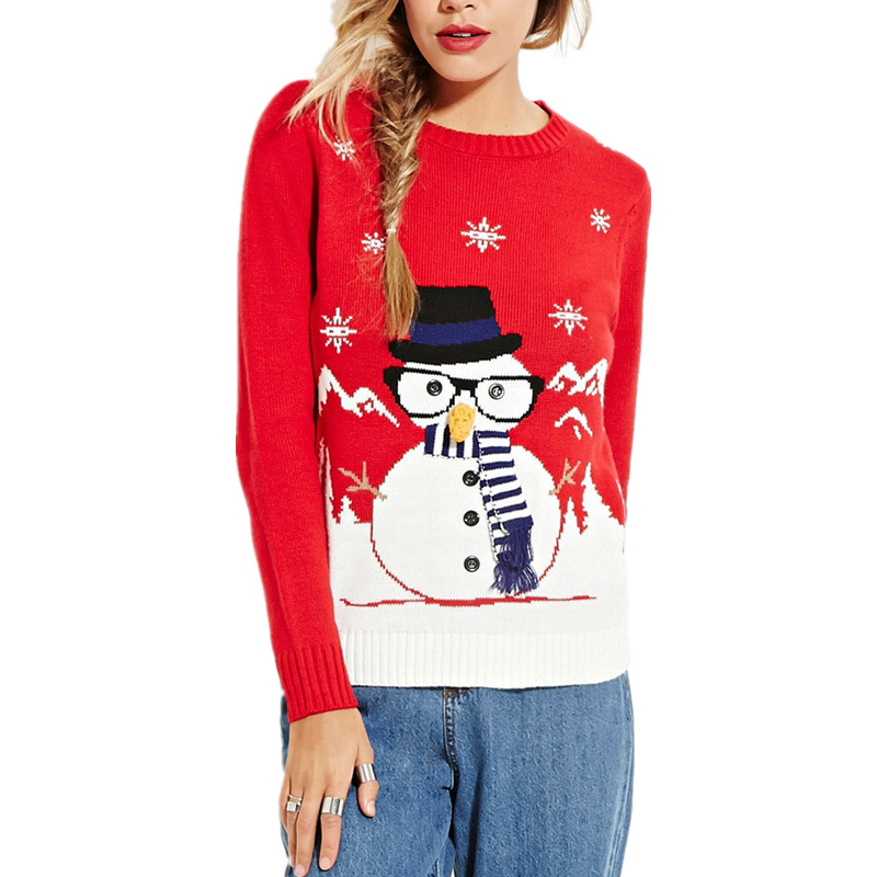 Autumn Winter Christmas Sweater Women Pull Femme Hiver Ladies Jumper Long Sleeve Womens Pullover Knitted Red Sweaters M183(China (Mainland))
