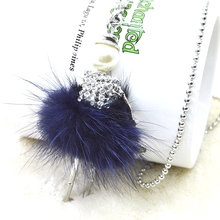 2015 Spring Hot Sale!! Cute Lovely Wool Dress Doll Necklace Crystal Women Jewelry wholesale retail stores gifts jewelry NS07701(China (Mainland))