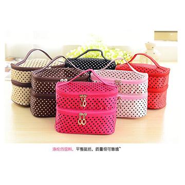 Cosmetic Case Bag Makeup Purse Double Layered character Women Zipper Cute hand bag Female bag(China (Mainland))