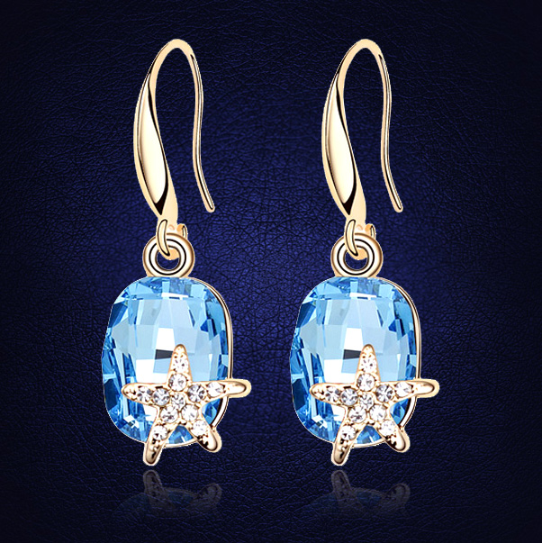Big Crystal From Swarovski Earrings 18k Gold Plated Austrian Crystal Drop Earring Trendy Elegant Starfish Jewelry For Lady Gift(China (Mainland))
