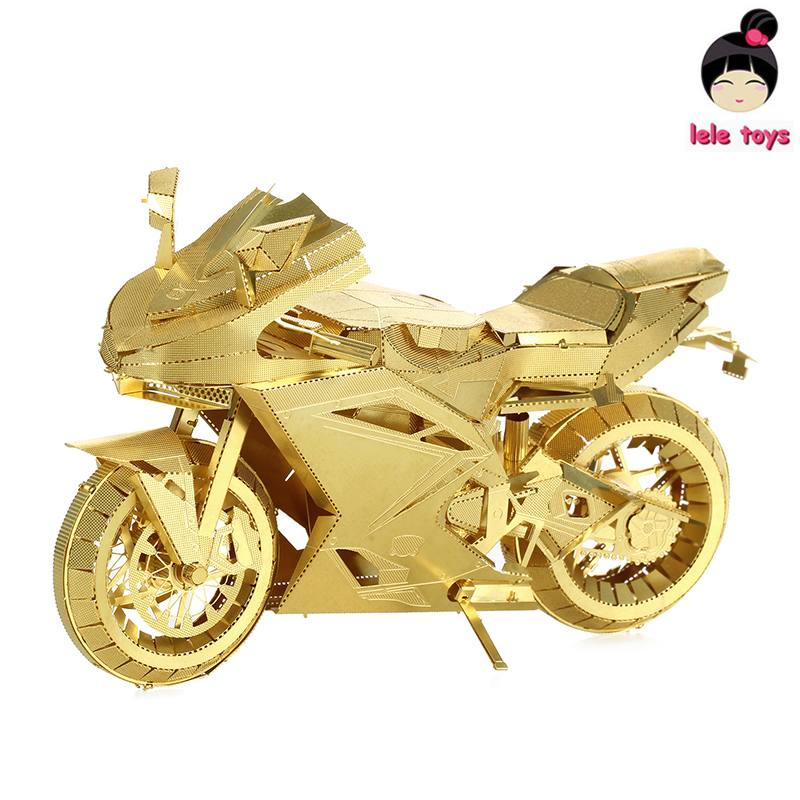 Pandamodel@ICONX Metal Earth PIECECOOL Same style MOTORCYCLE II golden 3D Metal model Etching puzzle Assembling originality(China (Mainland))