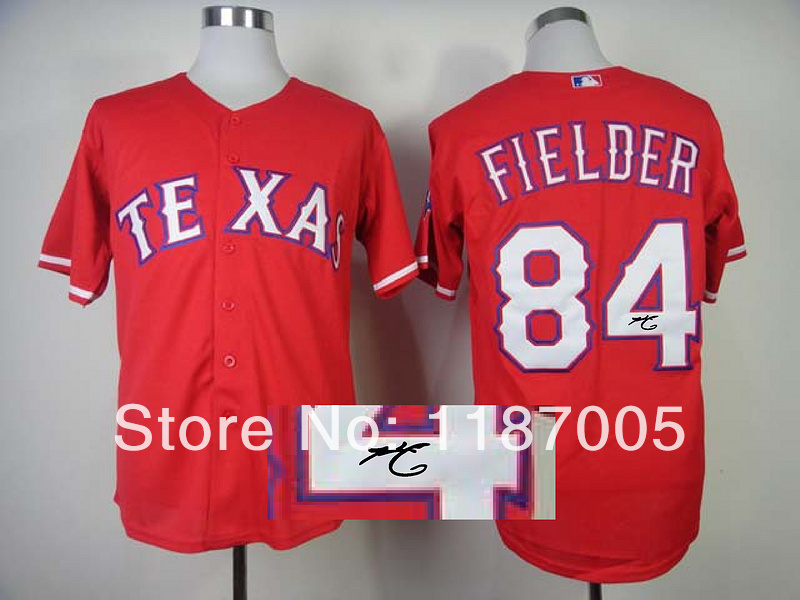 Hot selling 100% Stitched Signed MLB Texans Rangers #84 FIELDER red Baseball Jerseys(China (Mainland))