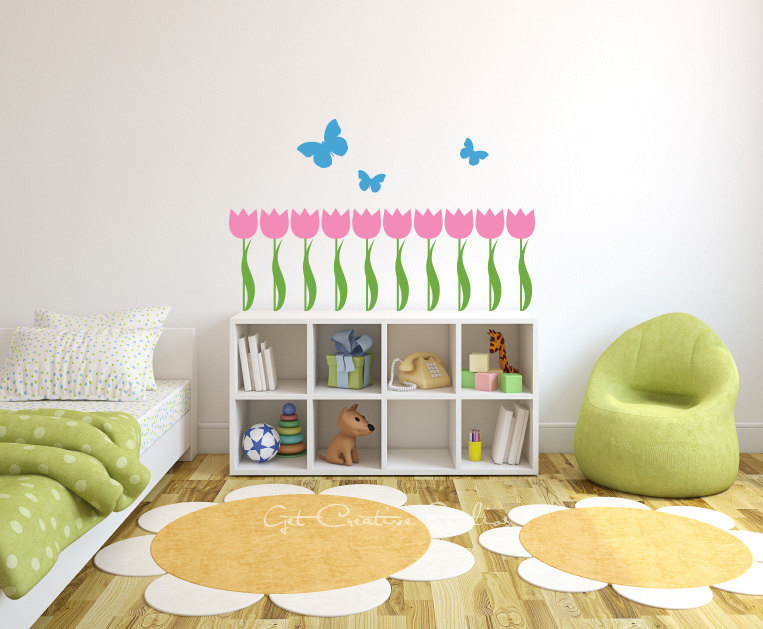 nursery Butterfly with Tulip Flower vinyl Wall Decal sticker home cabinet decor art free ship(China (Mainland))