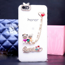 Fashion Diamond chain / Bear / Aluminum / Rhinestone Clear plastic Mobile phone protective shell Case cover for Huawei honor 4c