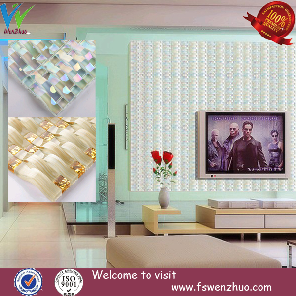 Living room tv wall decorative art glass crystal mosaic Decorative wall tiles for living room