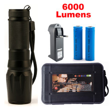 1 Set X800 LED Flashlight 6000lumen cree xm-l2 zoomable led torch aluminum flaslhights For Camping +18650 battery +Charger G700(China (Mainland))