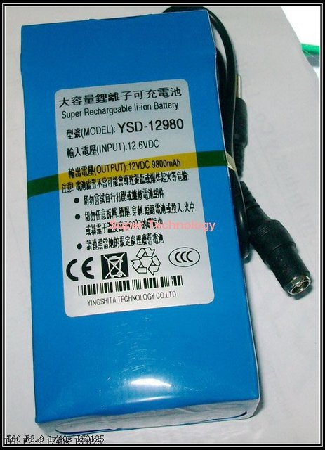 capacity 9800 Mah,CE ROHS approved w/ 12.6V 1A charger,DC 12V lithium battery pack,CCTV camera lithium battery smart power