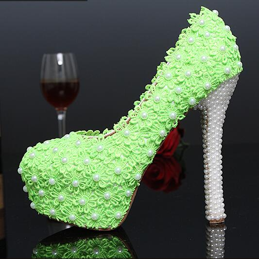 Hand Made Green Lace Stick Drill Pearl Wedding Shoes Bride Bridesmaids Crystal High Heel Shoes Woman Pumps Plus Size 34-43e<br><br>Aliexpress