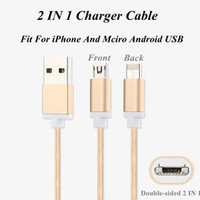 1M Double Side 2 in 1 USB Sync Date Mobile Phone Charger Cables For iPad iPhone 5S 6 6 plus For Samsung Xiaomi HTC Sony Huawei