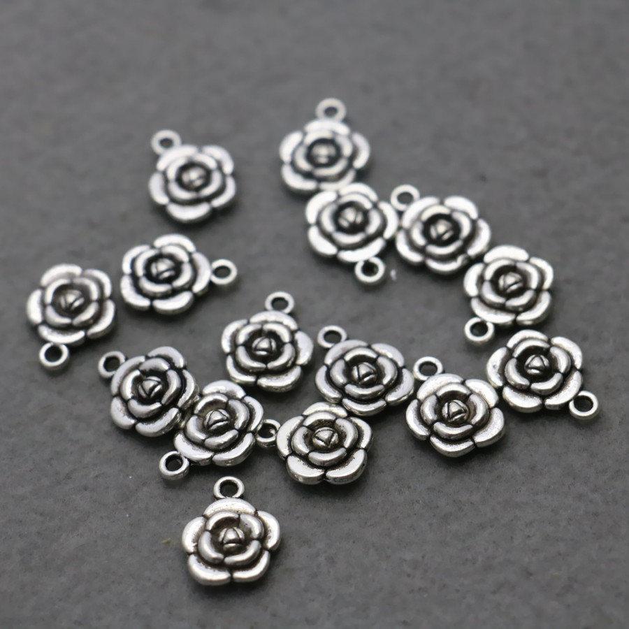 10PCS Hot wholesale Rose button Metal DIY Fittings Accessory for Necklace Bracelet Machining parts Silver-plate Jewelry Making(China (Mainland))