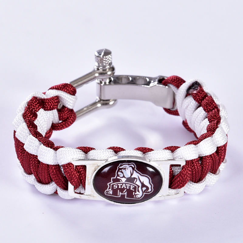 Mississippi State Bulldogs Custom Paracord Bracelet NCAA College Football Bracelet Survival Bracelet, Drop Shipping! 6Pcs/lot!(China (Mainland))