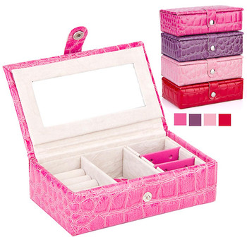 PU Leather Jewelry Box Earrings Rings Bracelet Necklace Display Storage Box Married Birthday Gift