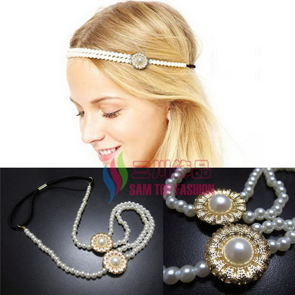 2014 Fashion simulated pearls beaded elastic headbands hair accessory jewel for women bijoux(China (Mainland))