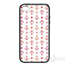 For iphone 4/4s 5/5s 5c SE 6/6s plus ipod touch 4/5/6 back skins mobile cellphone cases cover Red Anchor Pattern Abstract Design