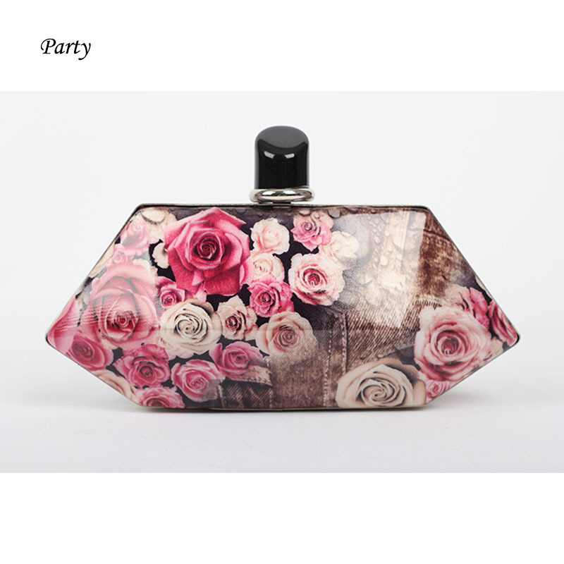 Retro style unique shape flower floral print box bag irregular shape day clutch bag acrylic party bag wedding clutch bride flap(China (Mainland))